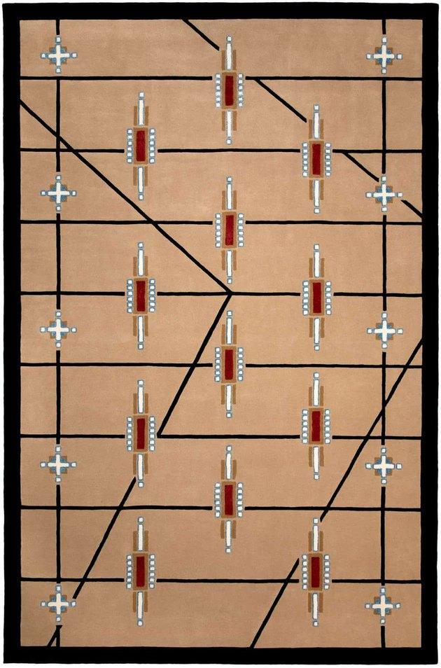 geometric tan rug