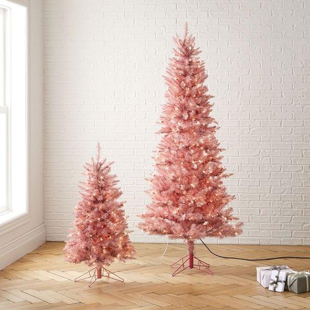 warm light pink artificial Christmas tree