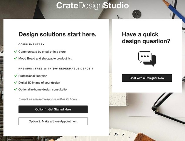 crate and barrel design services