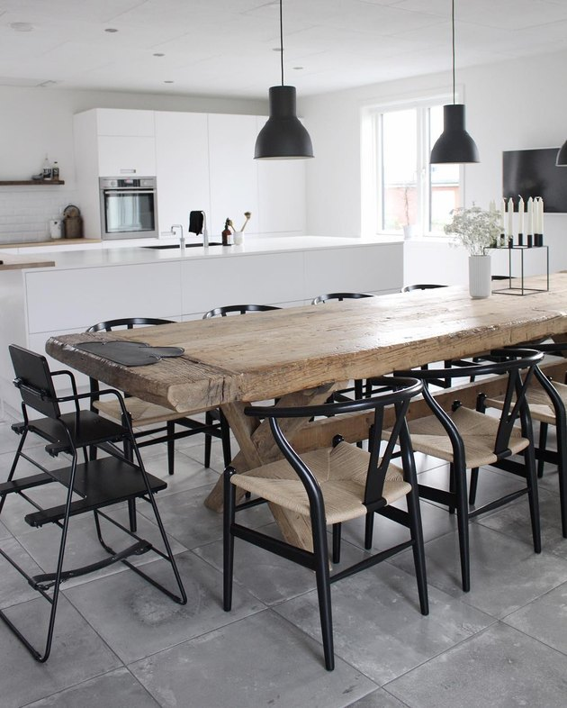 concrete kitchen floor tile in black and white kitchen