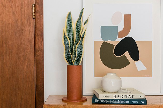 This boho-inspired faux terracotta vase is a simple solution for any tabletop display in your home.