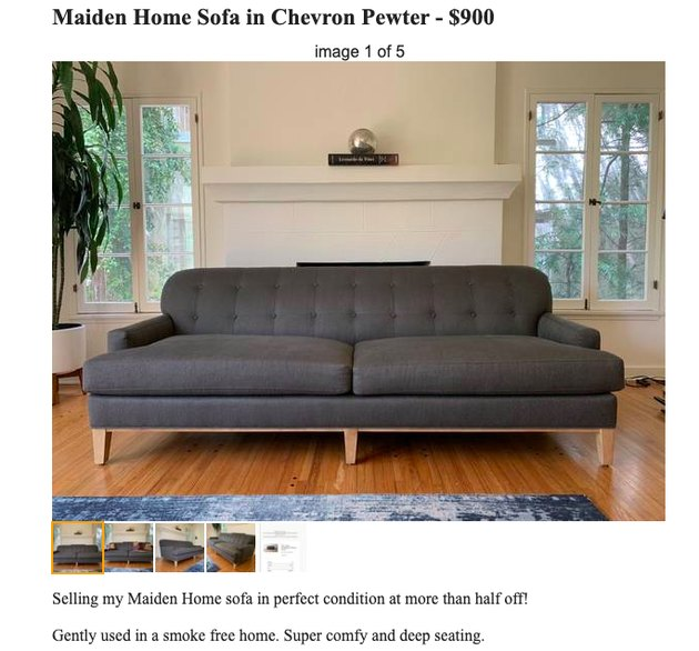craigslist couch listing