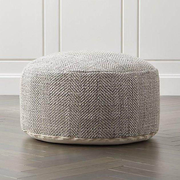 Crate & Barrel neutral wool pouf
