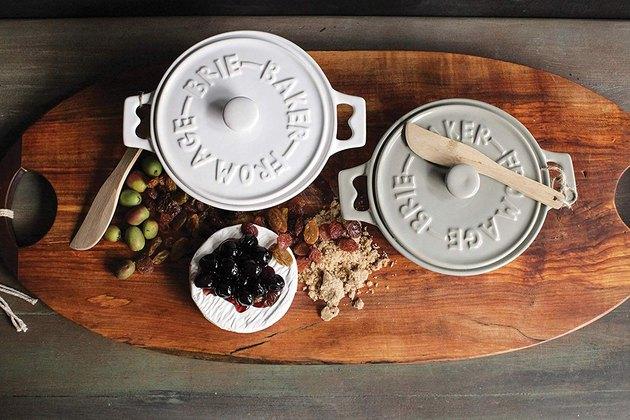 stoneware brie baker set on wood tray
