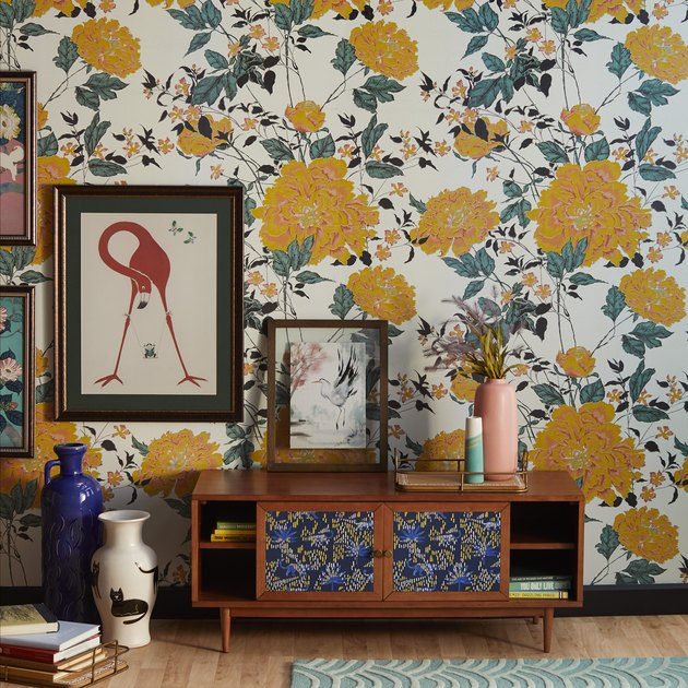yellow floral wallpaper in living room