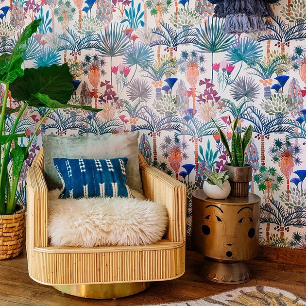 boho space with wicker chair