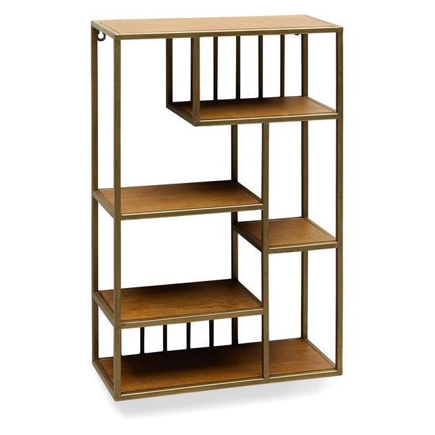 geometric brass shelf