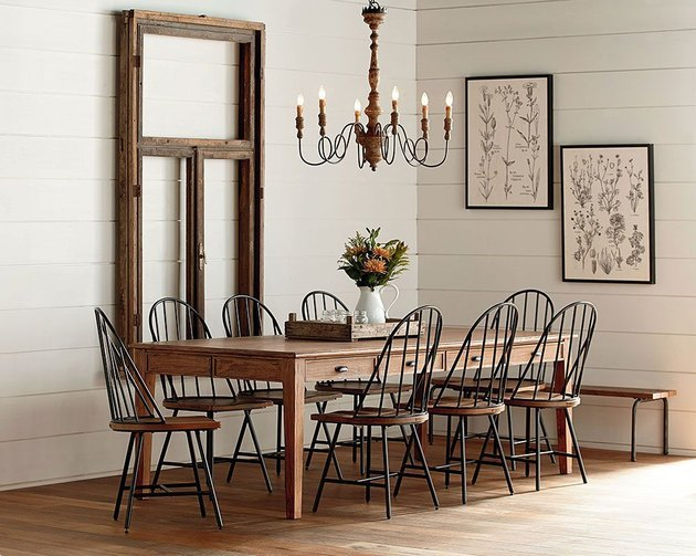 farmhouse style dining table with chandelier