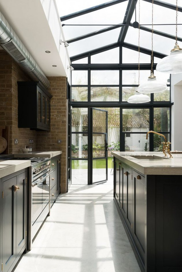 lage open kitchen with greenhouse style ceiling