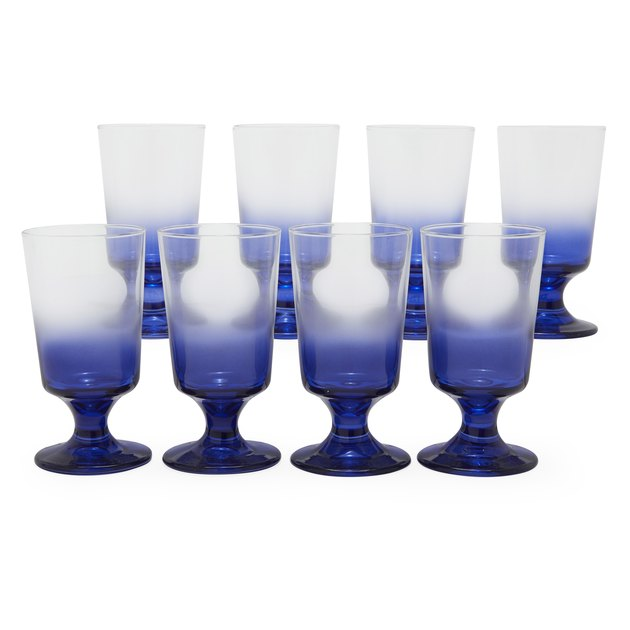 eight blue-and-clear glasses