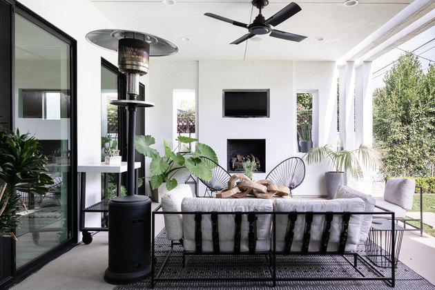 outdoor idea with black and white patio design with plenty of seating