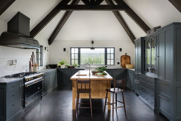 farmhouse kitchen island idea with light wood in gray kitchen