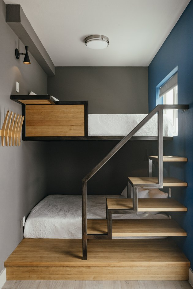 gray bedroom with bunkbeds