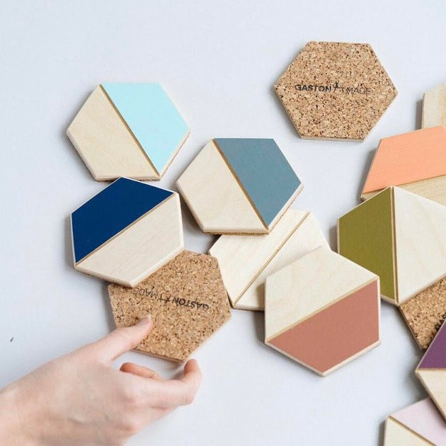 etsy colorblock coasters