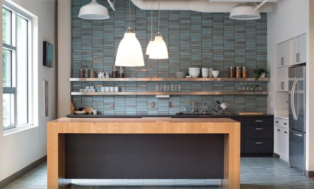 This crystal blue Classic Field Tile from Heath turns a minimal kitchen into something spectacular.