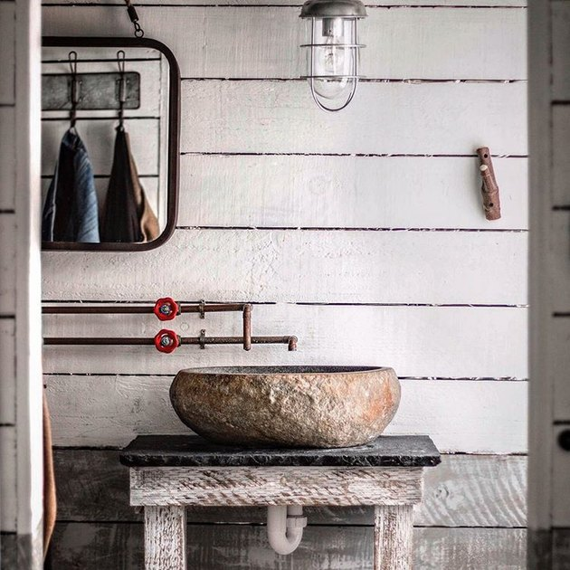 rustic bathroom with bleached wall