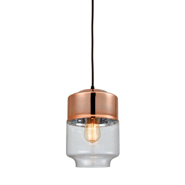 copper dining room light, Shades of Light copper plated jar pendant