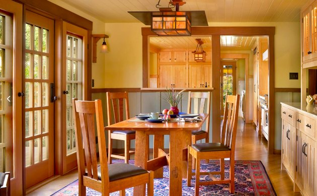 craftsman style dining room with wood table and chairs