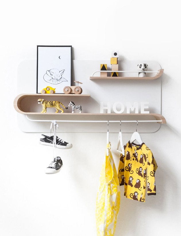 Blonde wood shelving with neon yellow accents