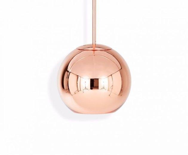 copper dining room light, Tom Dixon round copper pendant