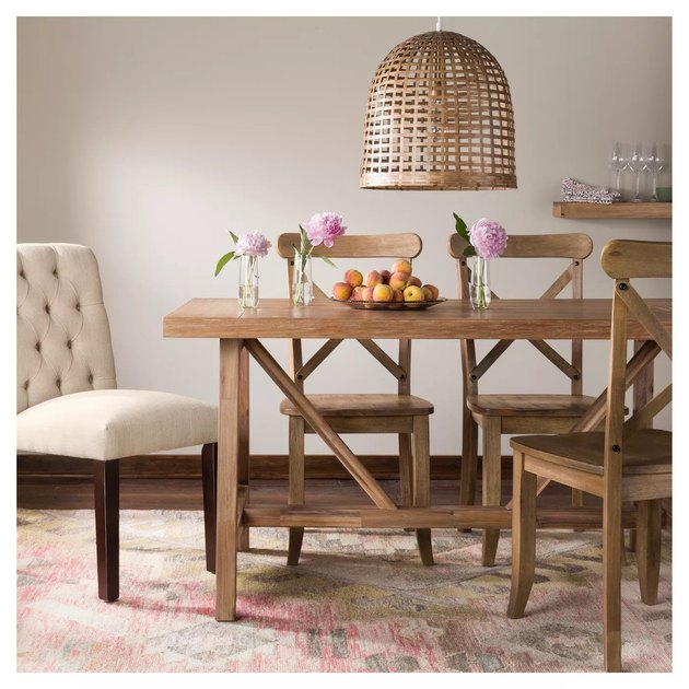trestle farmhouse table idea with solid wood veneer and woven bell-shaped pendant light