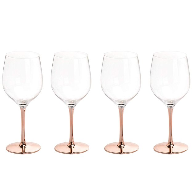 mygift modern copper-toned wine glasses