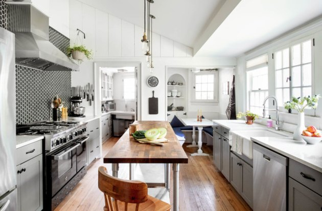 farmhouse kitchen island idea with butcher block