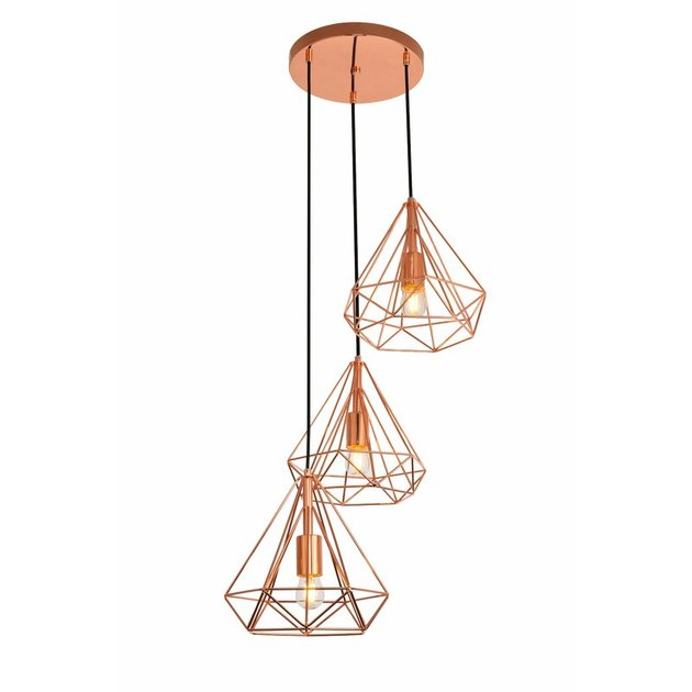 copper dining room light, geometric copper pendant