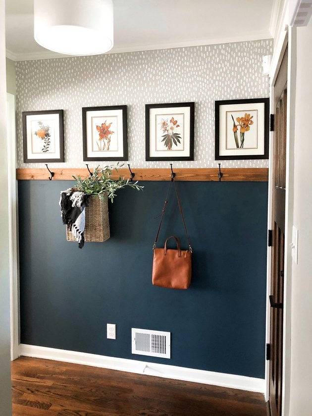 blue farmhouse entryway idea with patterned wallpaper
