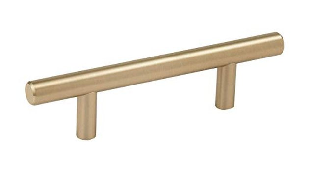Brushed brass bar drawer pull