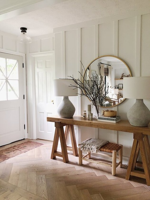 clean entryway with farmhouse style