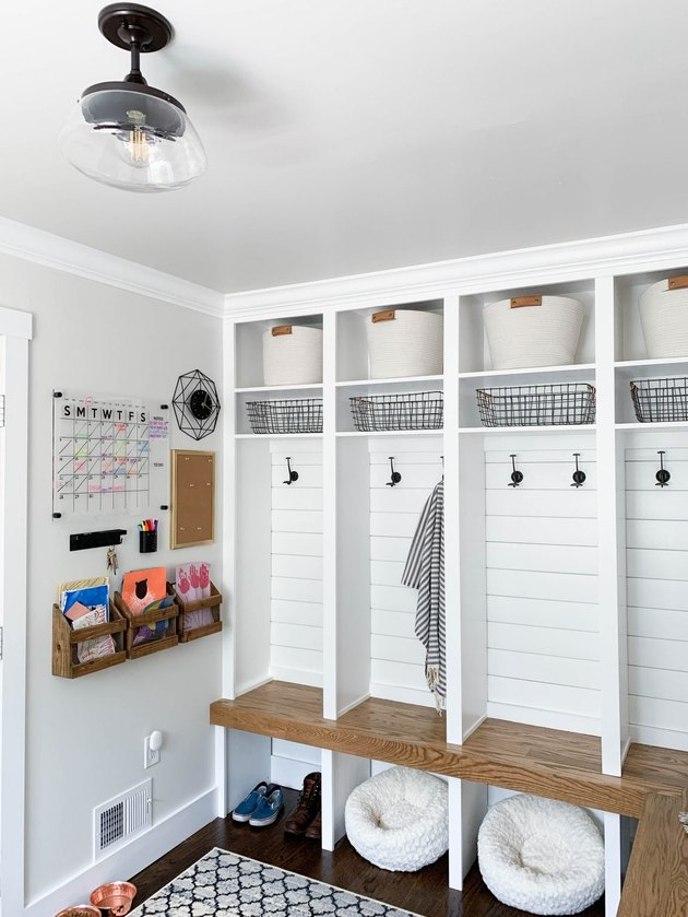 modern farmhouse entryway with mudroom storage