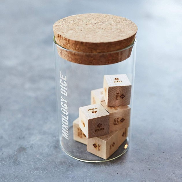glass tumbler with wood dice