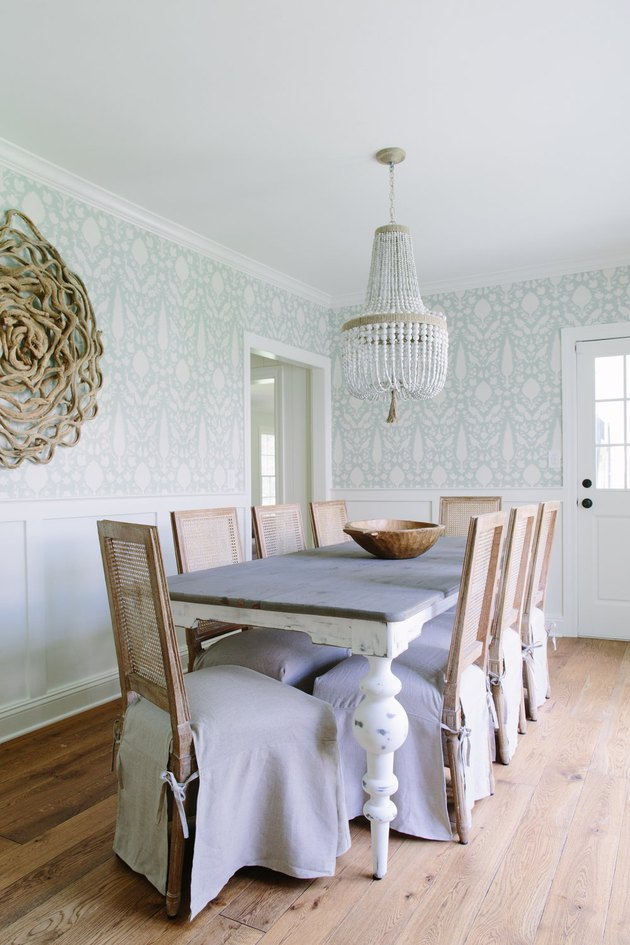 board and batten dining room wainscoting by Kate Marker Interiors