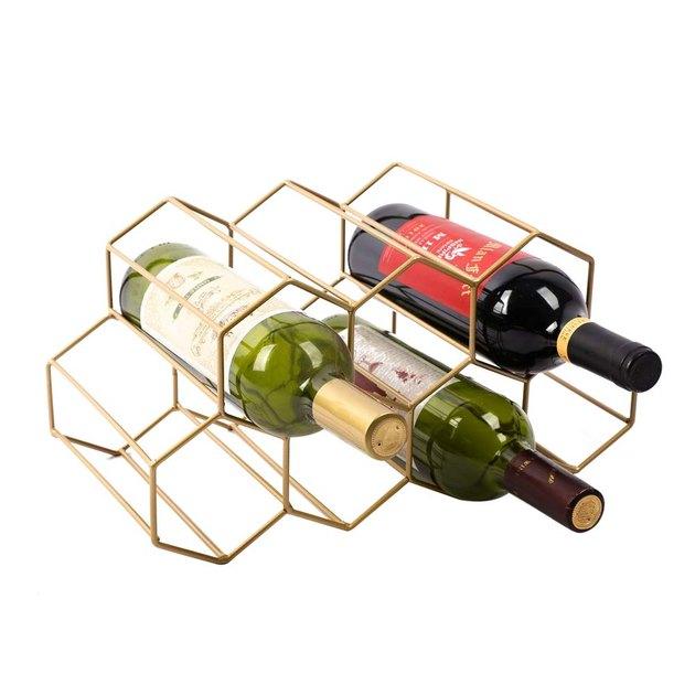 gold geometric wine rack