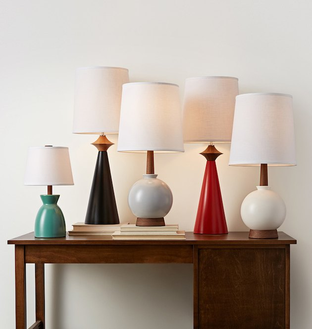 sculptural colorful table lamps