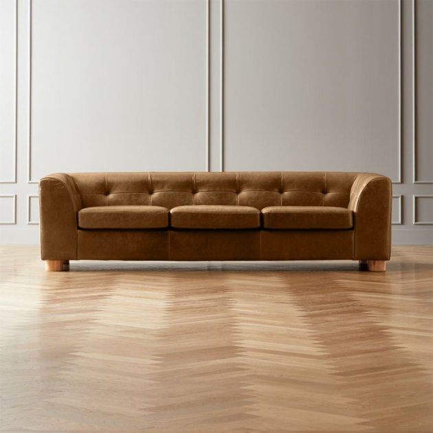 CB2 kotka leather sofa