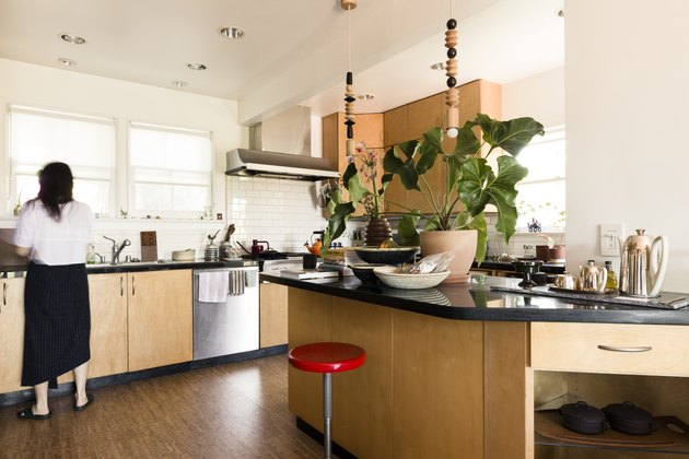 open concept kitchen with plants on the counter and dark hardwood floors