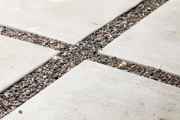 close up of concrete pavers outside