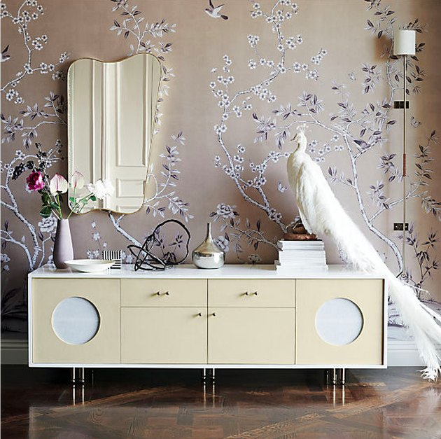 chinoiserie wallpaper and modern credenza