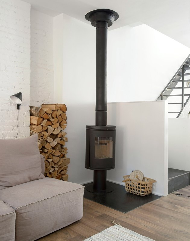 rustic wood burning stove fireplace