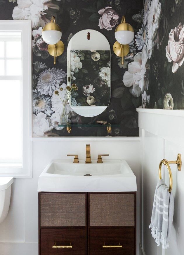 half bathroom idea with large scale floral wallpaper