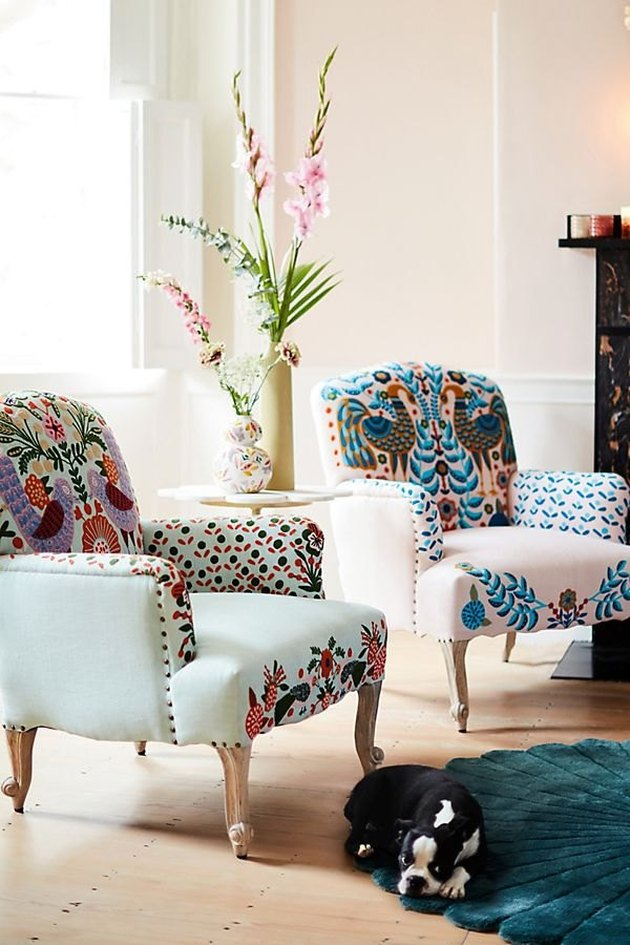 brightly colored armchairs