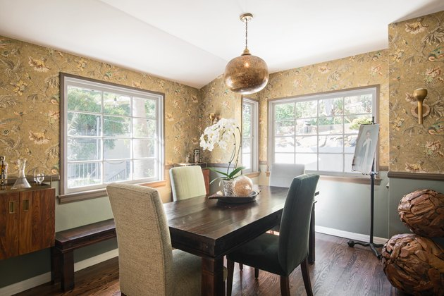 painted dining room wainscoting with chair rail and wallpaper above