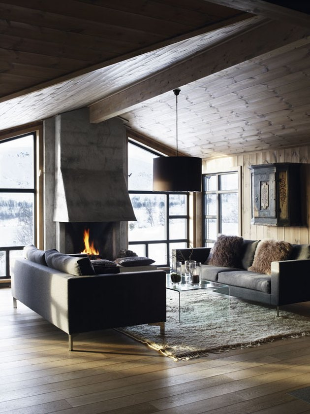 concrete fireplace with concrete hood