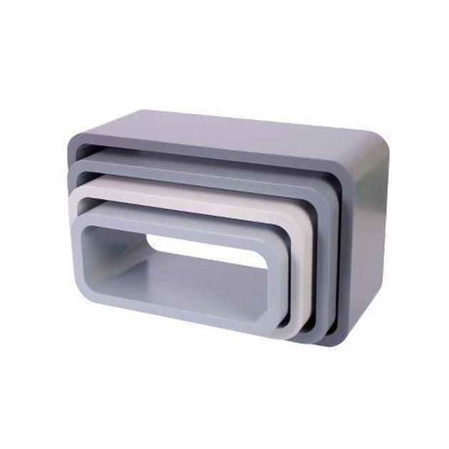 gray wooden storage cubes