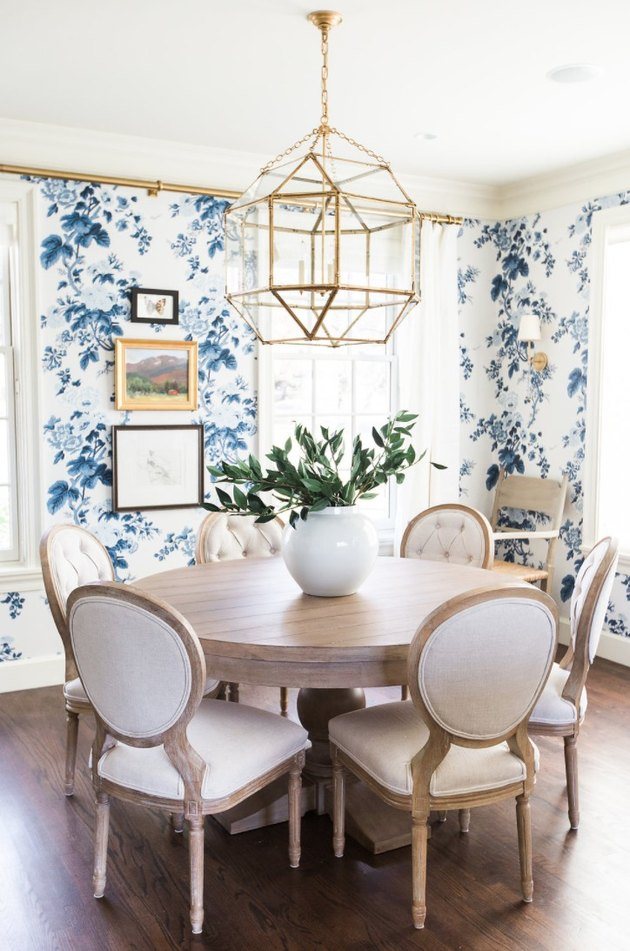 French Country Dining Room with Upholstered Chairs by Studio McGee