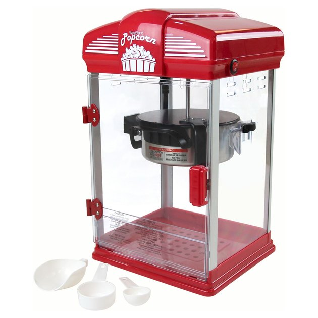 red and white popcorn machine