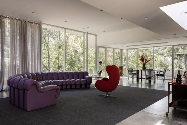 midcentury living room with sliding glass doors
