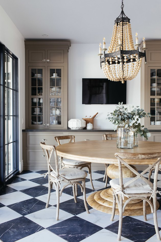 French Country Dining Room in Kitchen with round table by Lifestyled Co